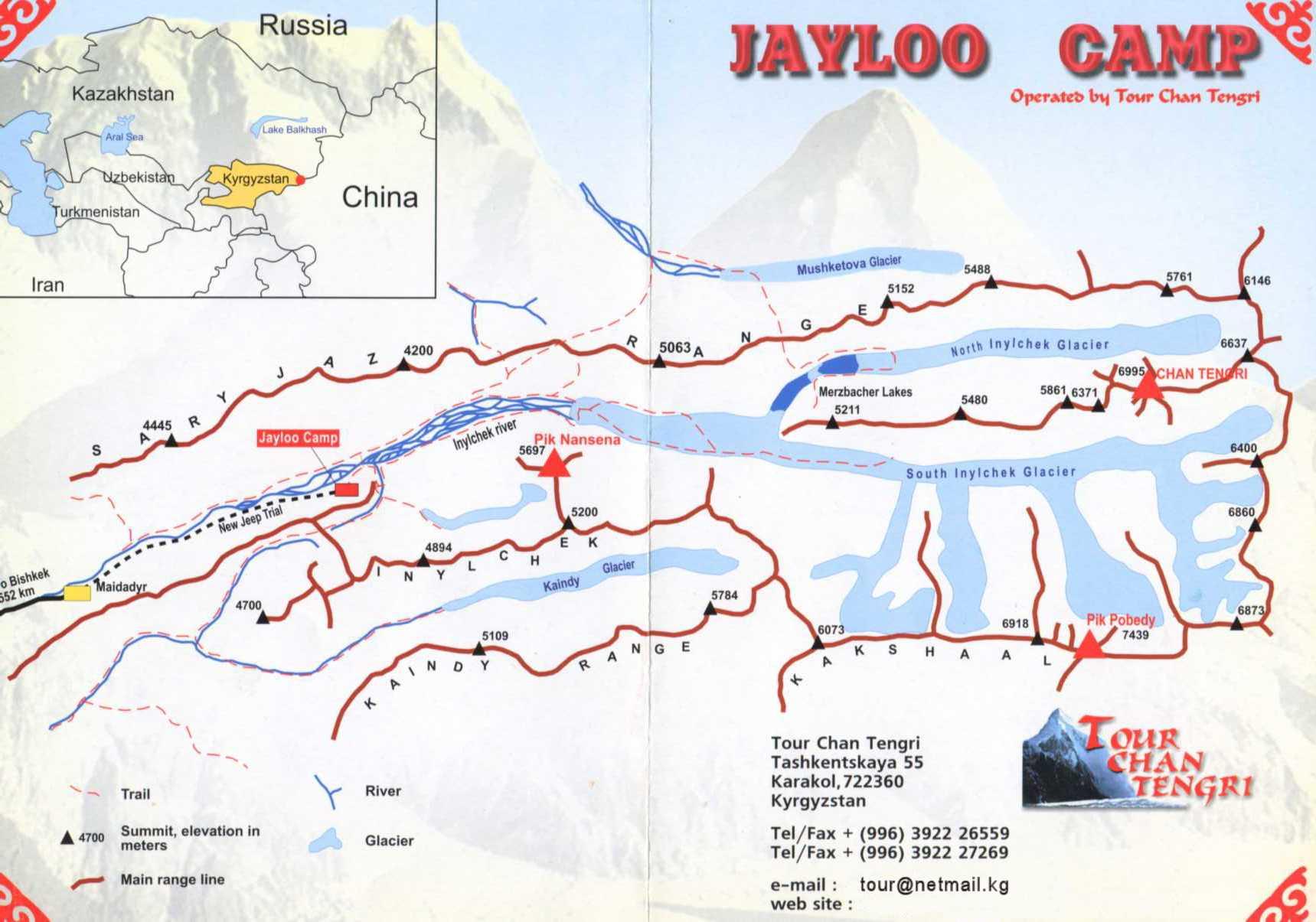 Tien Shan Mountains Map, Ari\'s Base Camp: Tien Shan